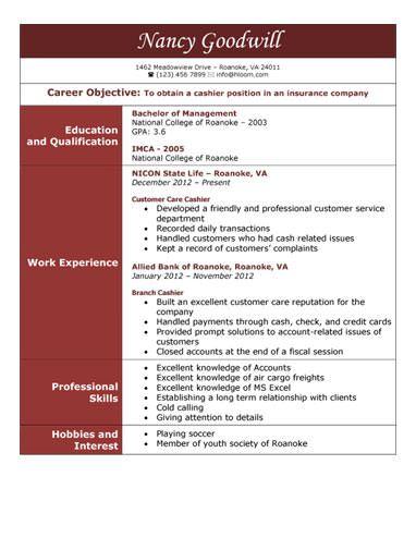 Insurance Company Cashier Resume Template Cashiers Resume