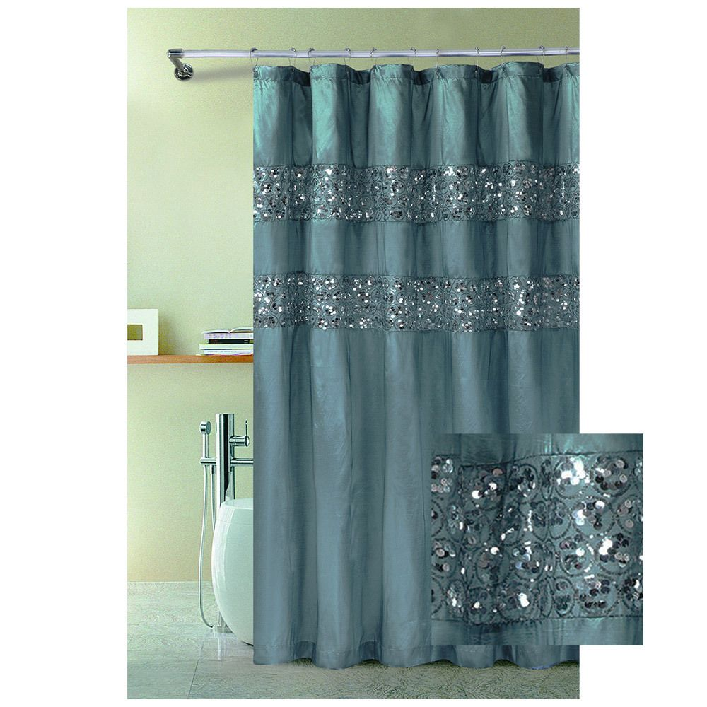 Turquoise And Coral Shower Curtain. Bathroom And More  Blue Fabric Shower Curtain with Stitched Sequins 72 X