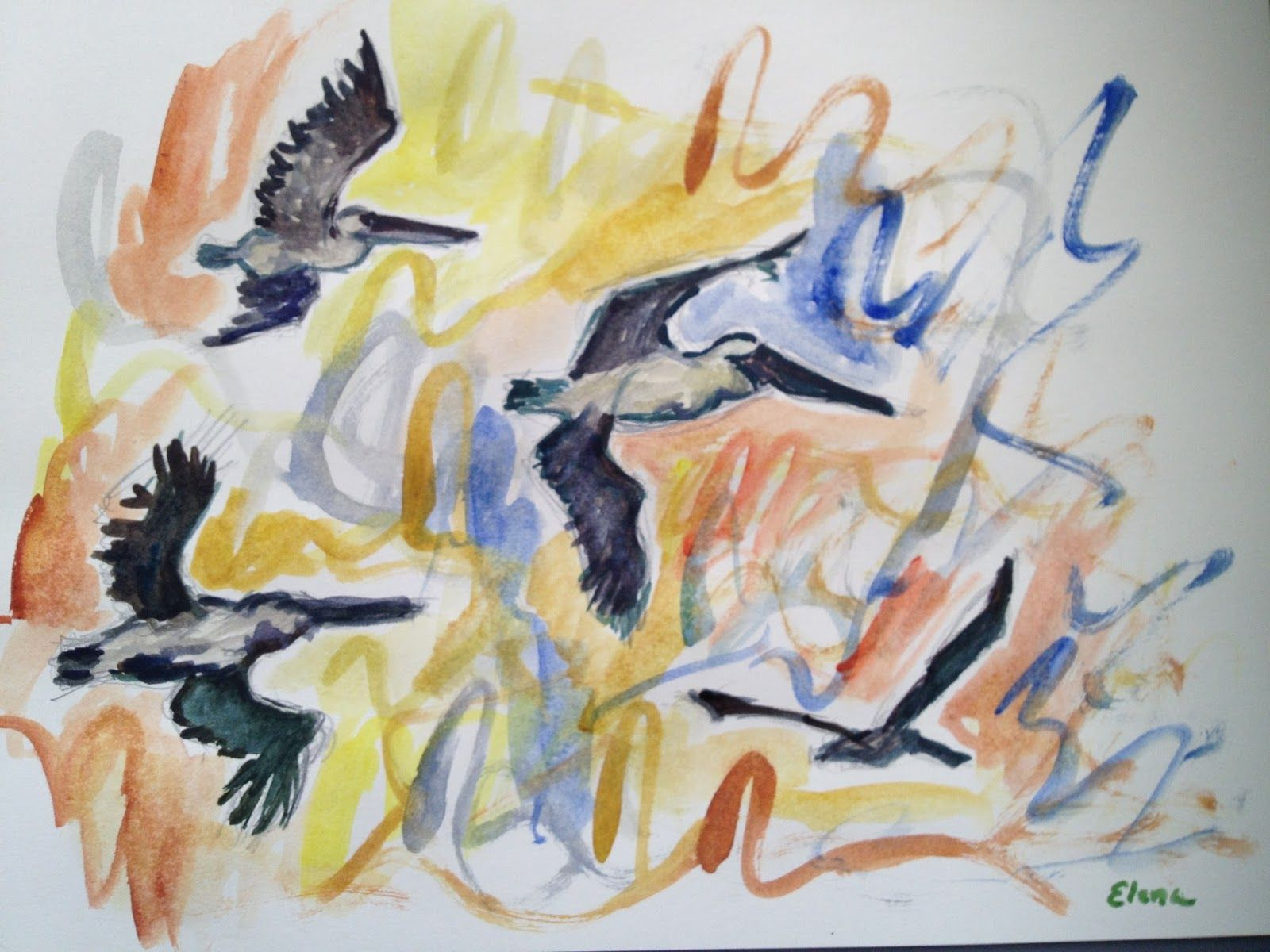 Have Watercolors Will Travel Got Pelicans Watercolor Painting