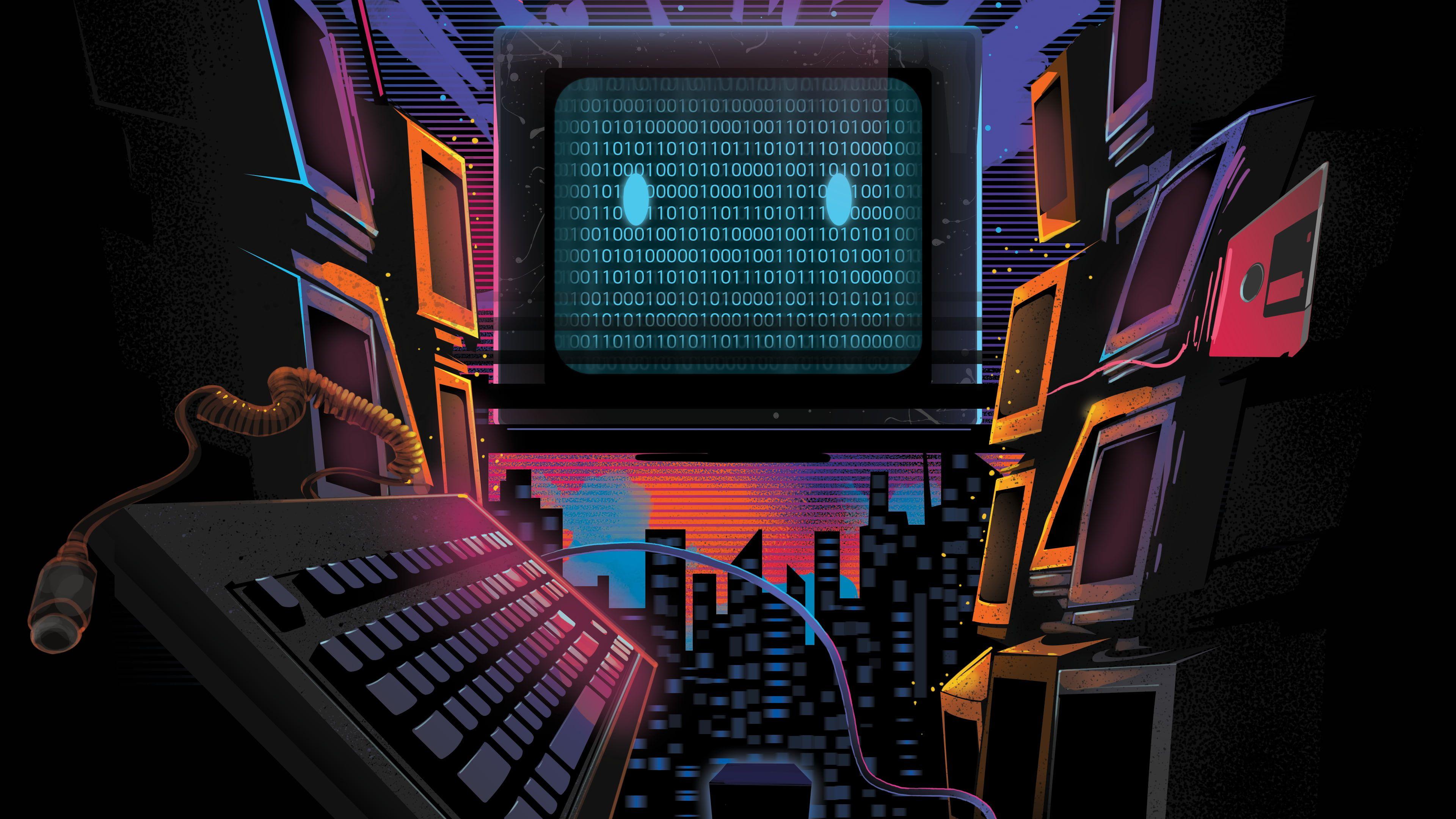 Technology Monitor Alpha Coders Binary Crt Monitor Retro Wave 4k Wallpaper Hdwallpaper Deskt In 2020 Waves Wallpaper Retro Games Wallpaper Amazing Hd Wallpapers