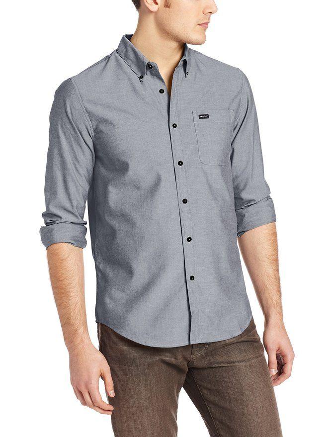 RVCA Mens Thatll Do Long-Sleeve Oxford Shirt