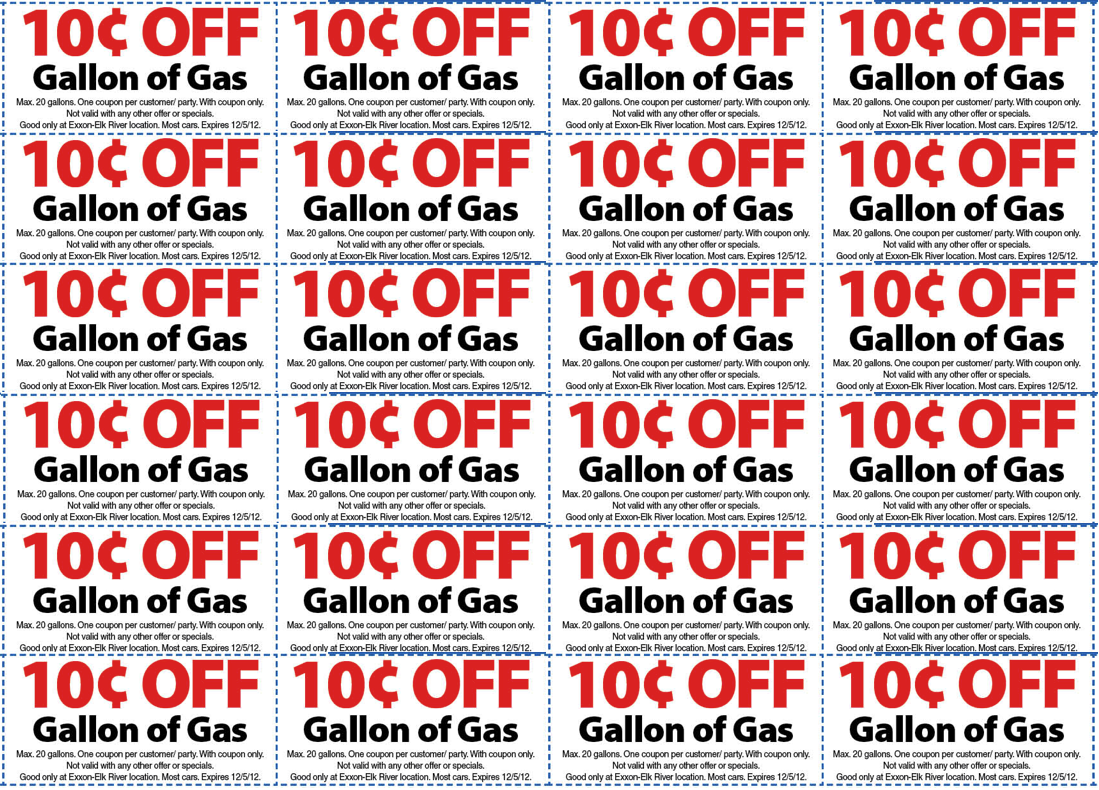 Gasoline coupon codes