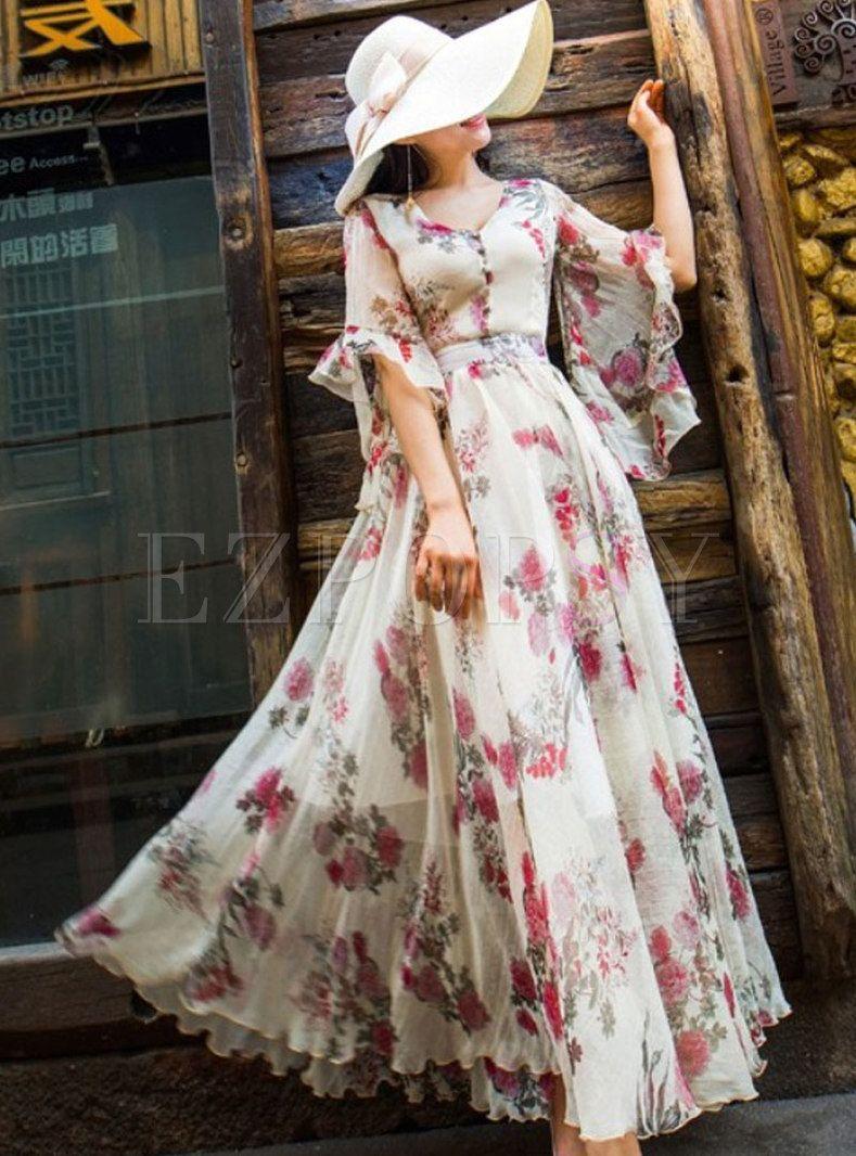 Vintage Flare Sleeve Chiffon Beach Beaded Print Dress Vintage Maxi Dress Frock Dress Dresses