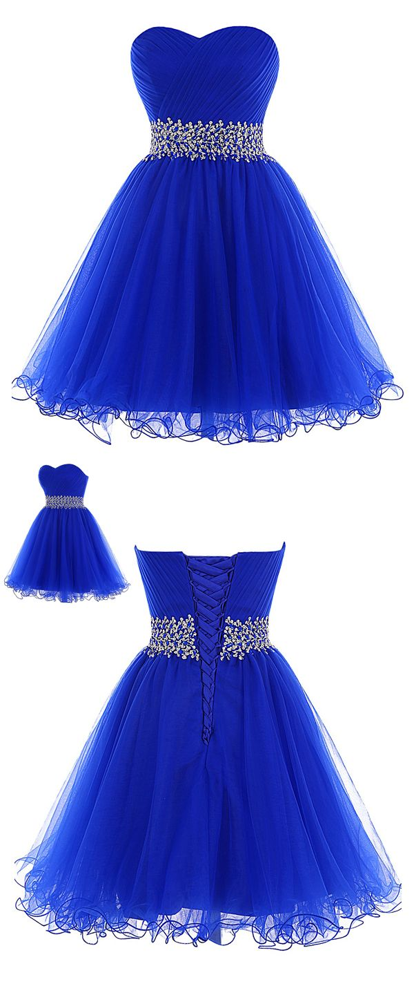 A line sweetheart short tulle lace up beaded royal blue for Royal blue short wedding dresses