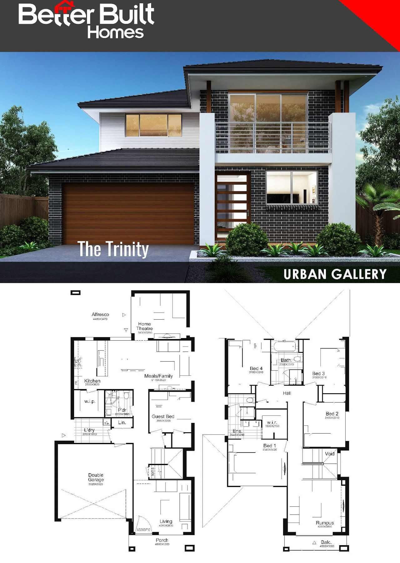 the waterbrook double storey house design 265 sq m 12 09m x the trinity double storey house design 291 61 sq m 10 35m x 19 34m