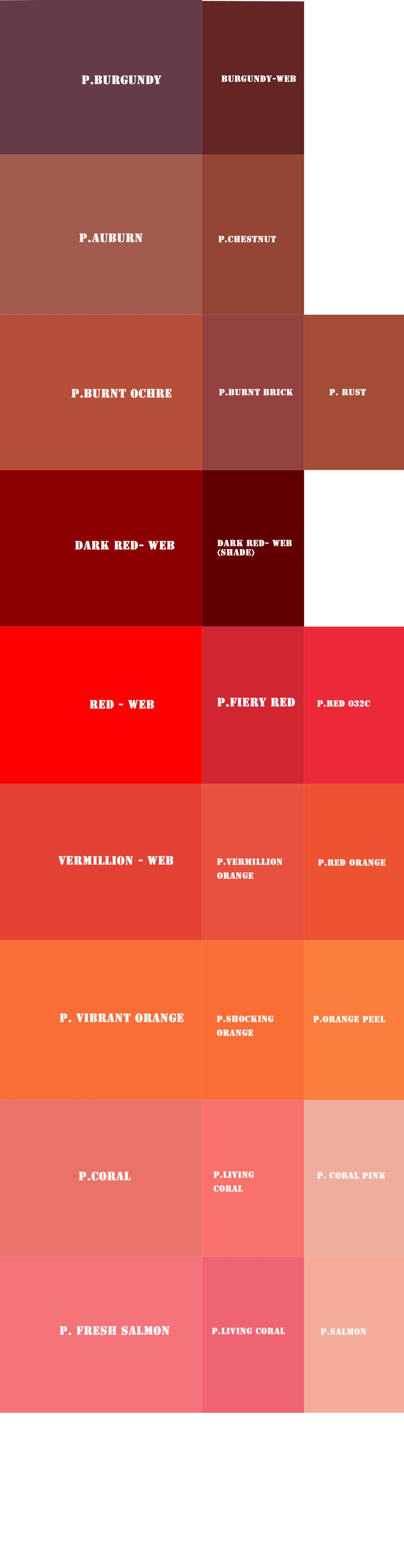 My RED Pantone and web color references