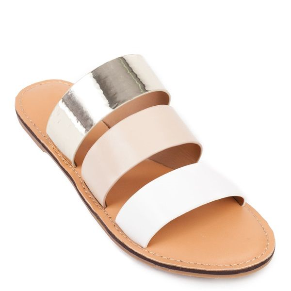 3d402310183d1 Nude flat sandal with three bands with colors white