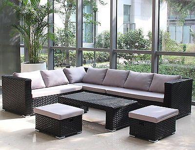 Conservatory Modular 8 Seater Rattan Corner Sofa Set Garden Furniture Black Rattan Corner Sofa Corner Sofa And Coffee Table Modern Outdoor Patio