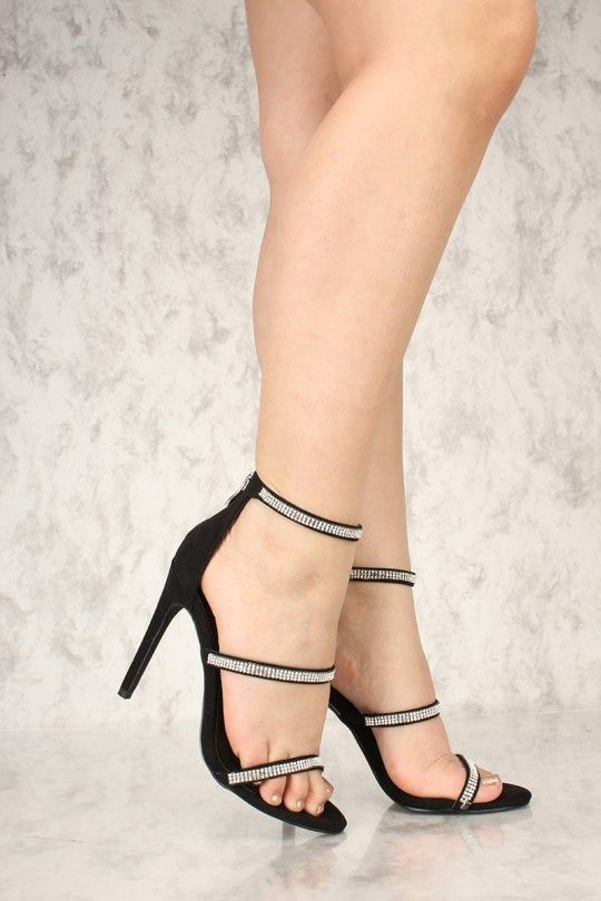 e1f93d0493 Sexy Black Rhinestone Open Toe Ankle Strap Single Sole High Heels Faux  Suede in 2019 | iROD'S LEG PICS | Heels, Shoes heels, Shoes