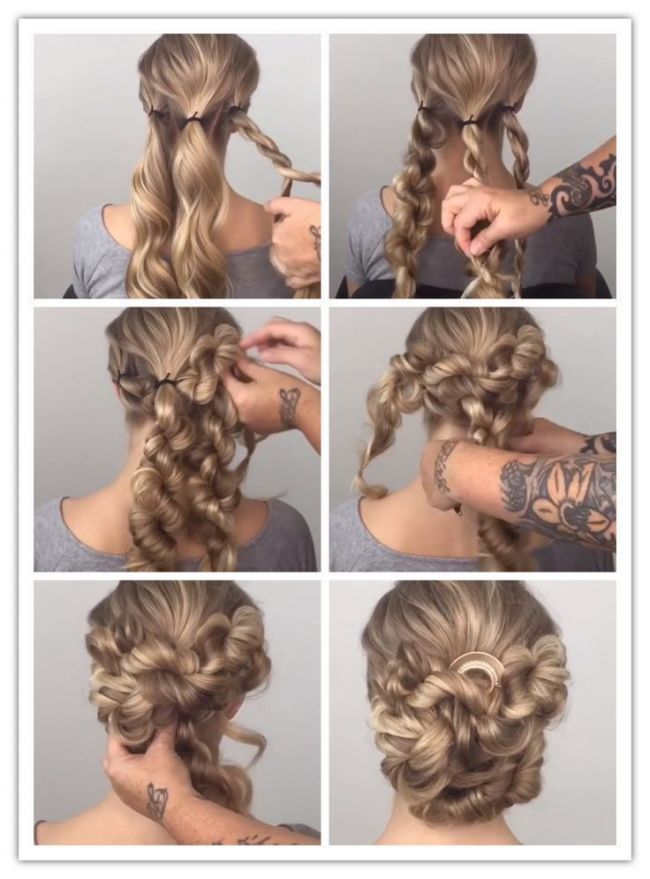 Brotchen Mit Gedrehten Zopf Haarpflege Long Hair Styles Prom Hairstyles For Long Hair Curly Hair Styles