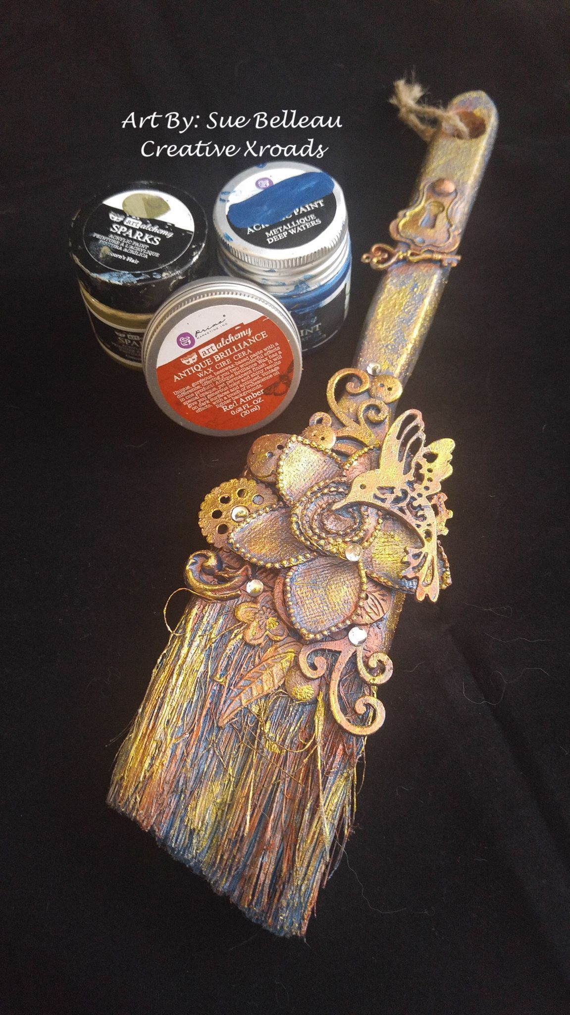 ordinary Paint The Night Paintbrush Part - 16: Altered paint brush using #finnabair paints and waxes.