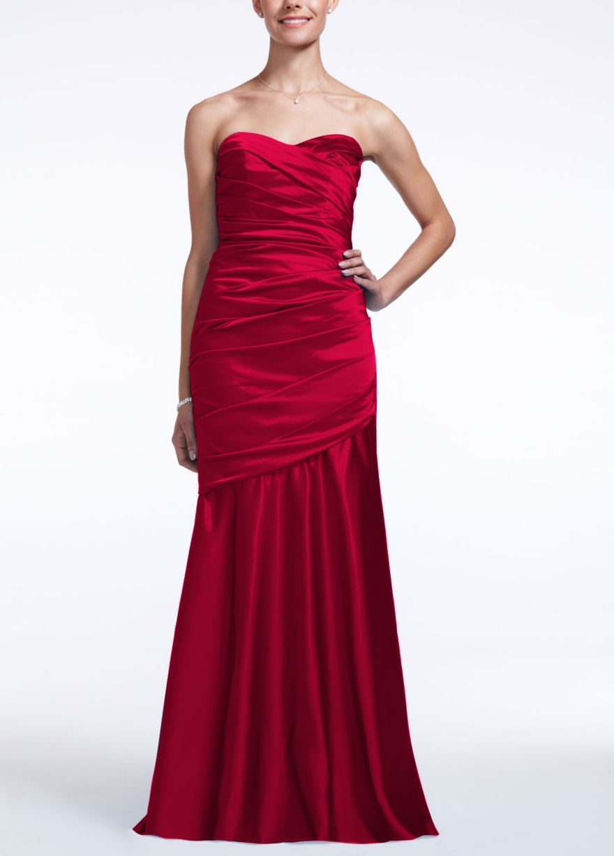 David's bridal red wedding dress  Long Strapless Stretch Satin Dress  Davidus Bridal Maid of Honor