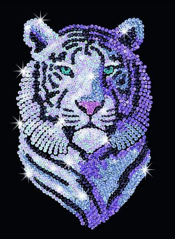 Sequin Art Snow Tiger Craft Kit Create your Sequin Art Pictures from easy to follow instructions. Contents: Framed polystyrene base, flocked picture, coloured sequins, pins and instructions. Suitable for children of 8 years and above. Size - 250 x 340mm