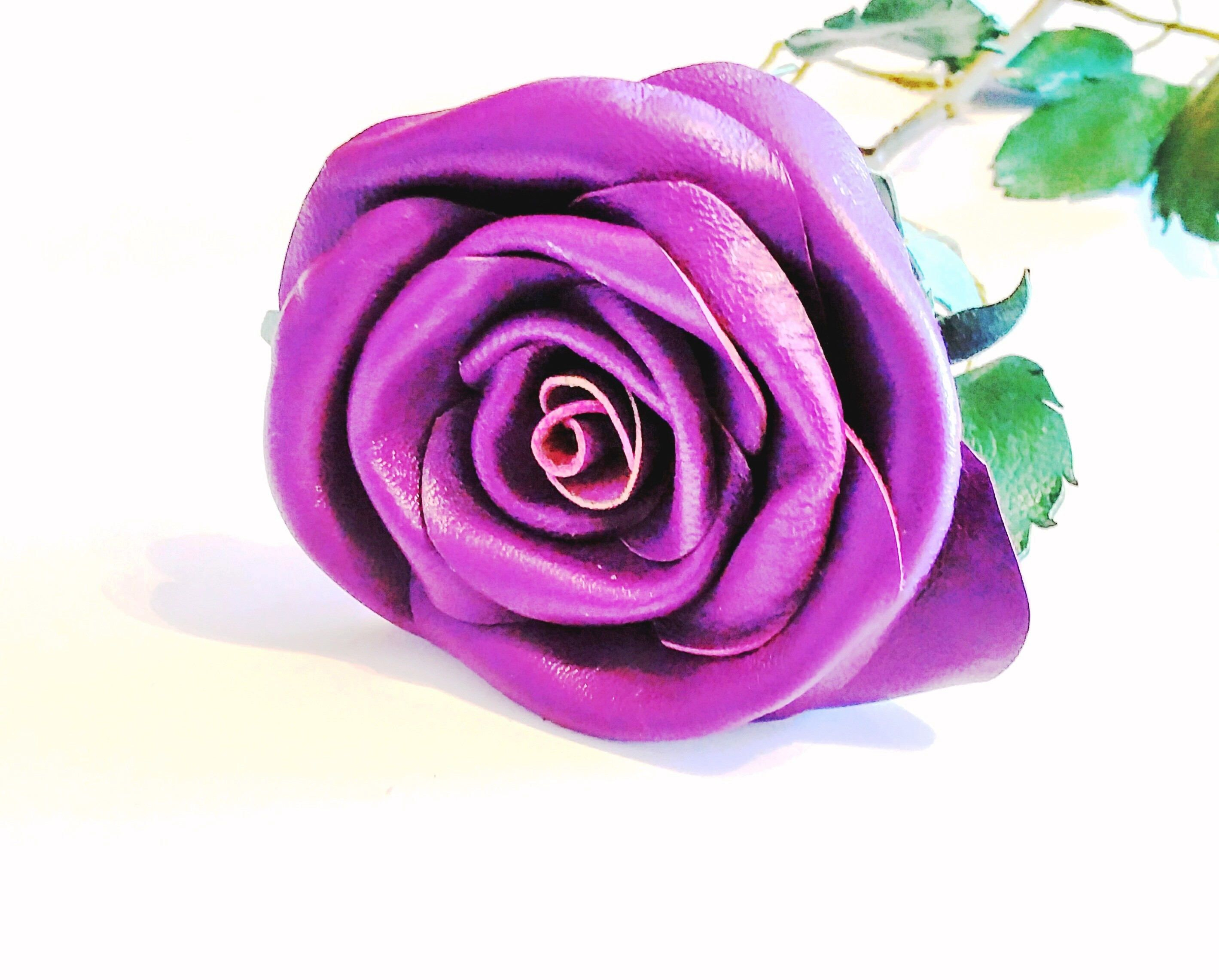 Purple leather rose leather flower wedding gift rd anniversary