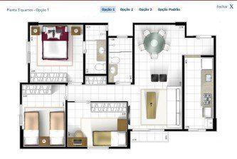 tipos de plantas de casas 60m2 com 3 quartos Plantas de