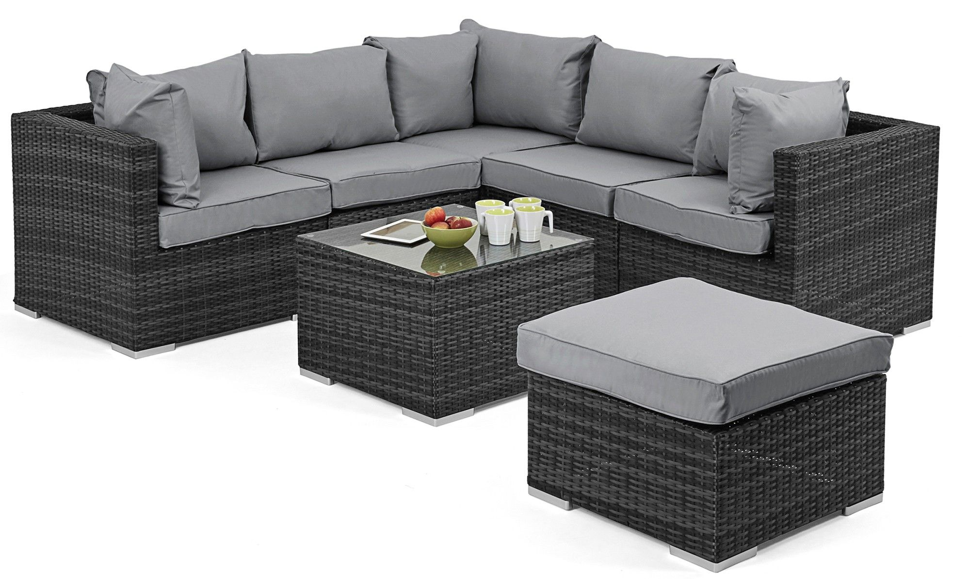 Naples Corner Sofa Grey Rattan Garden Set Outdoor Furniture Cushions Rattan Garden Furniture Rattan Corner Sofa