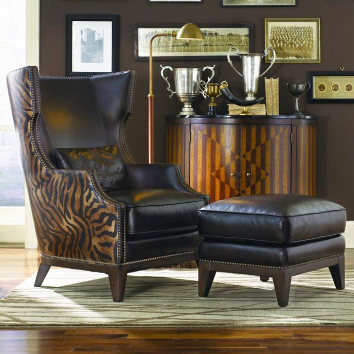 Best Fort Stockton Leather Accent Chair Ottoman Serengeti 400 x 300