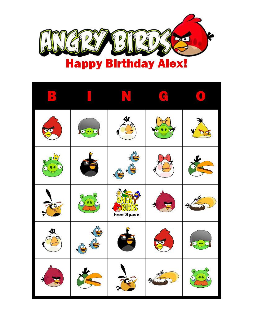 Angry Birds Personalized Birthday Party Bingo Cards Game Delivered By Email
