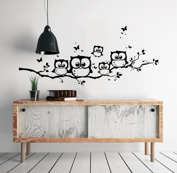 wandtattoo eulen eule eulenzweig eulenwandtattoo. Black Bedroom Furniture Sets. Home Design Ideas