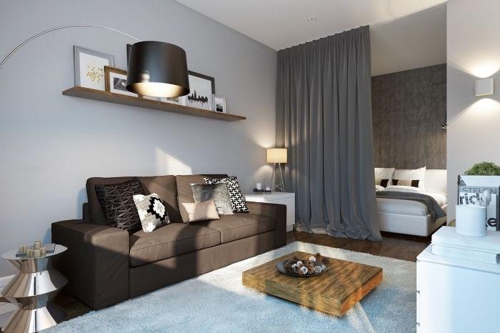 modèle d\u0027aménagement petit appartement avec séparation de pièce en