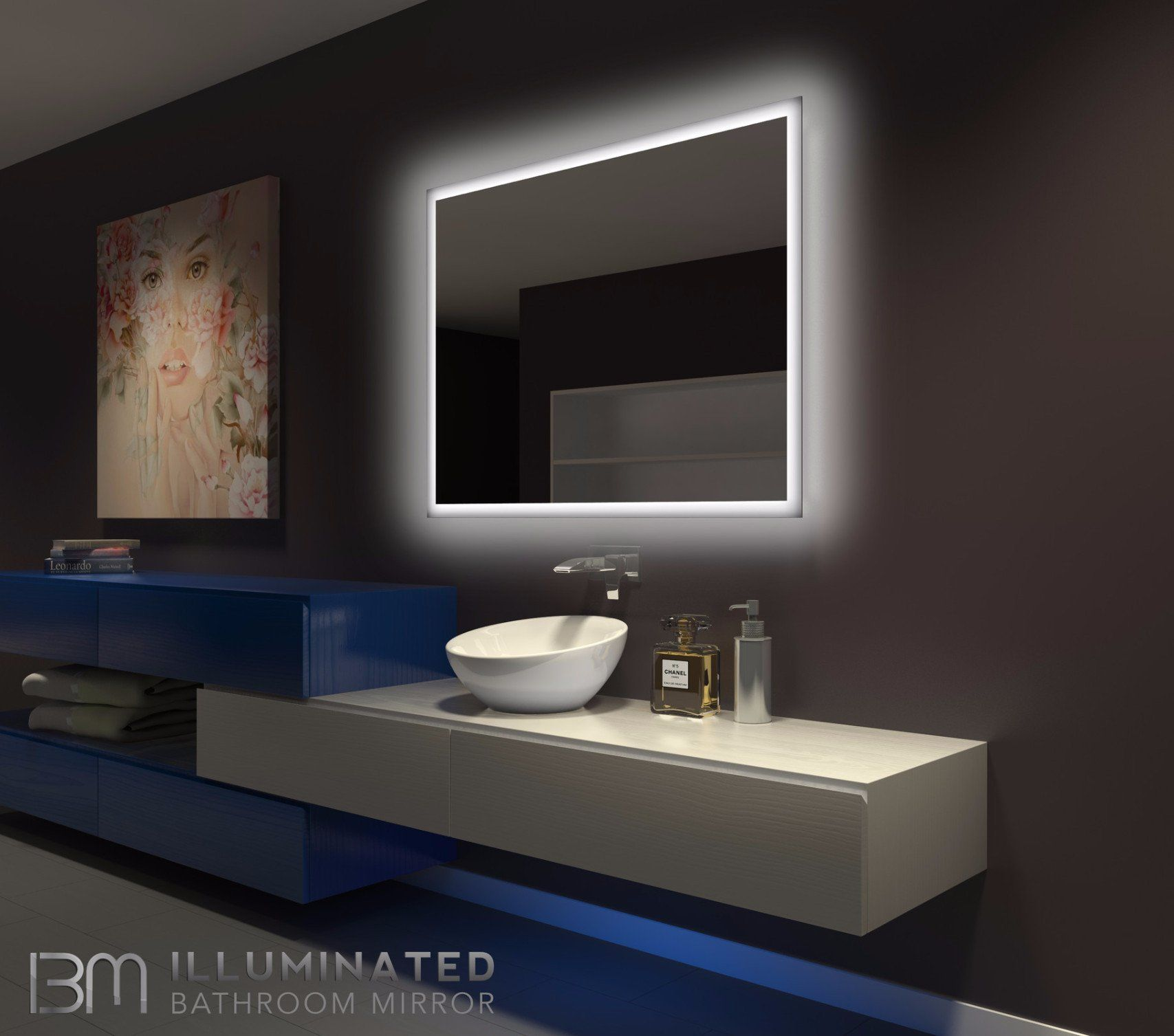 Dimmable Backlit Mirror Rectangle 48 X 36 Backlit Mirror Backlit Bathroom Mirror Lighted Bathroom Mirror