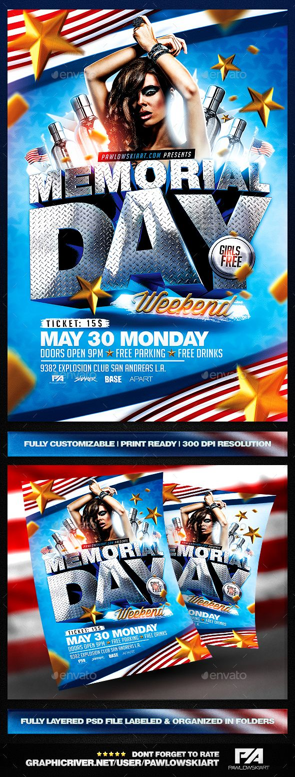 memorial day weekend psd flyer template holidays events flyer
