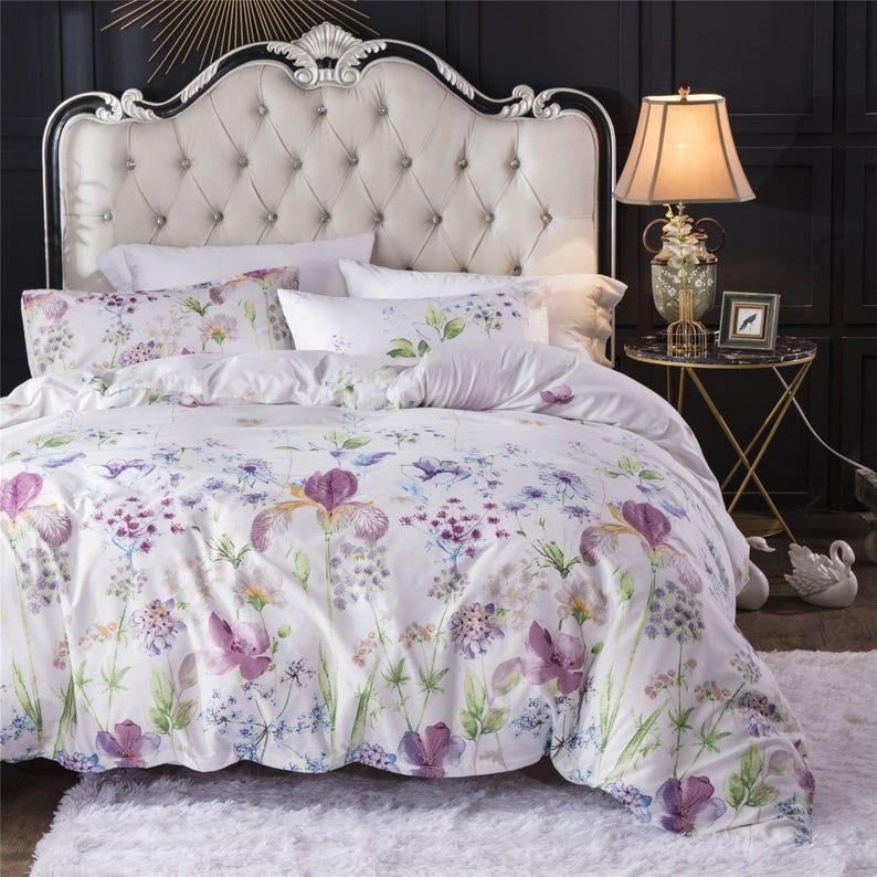 Lilac Flowers Duvet Set White Floral Duvet Cover With 2 Etsy In 2020 Duvet Sets Floral Duvet Cover Duvet Cover Sets