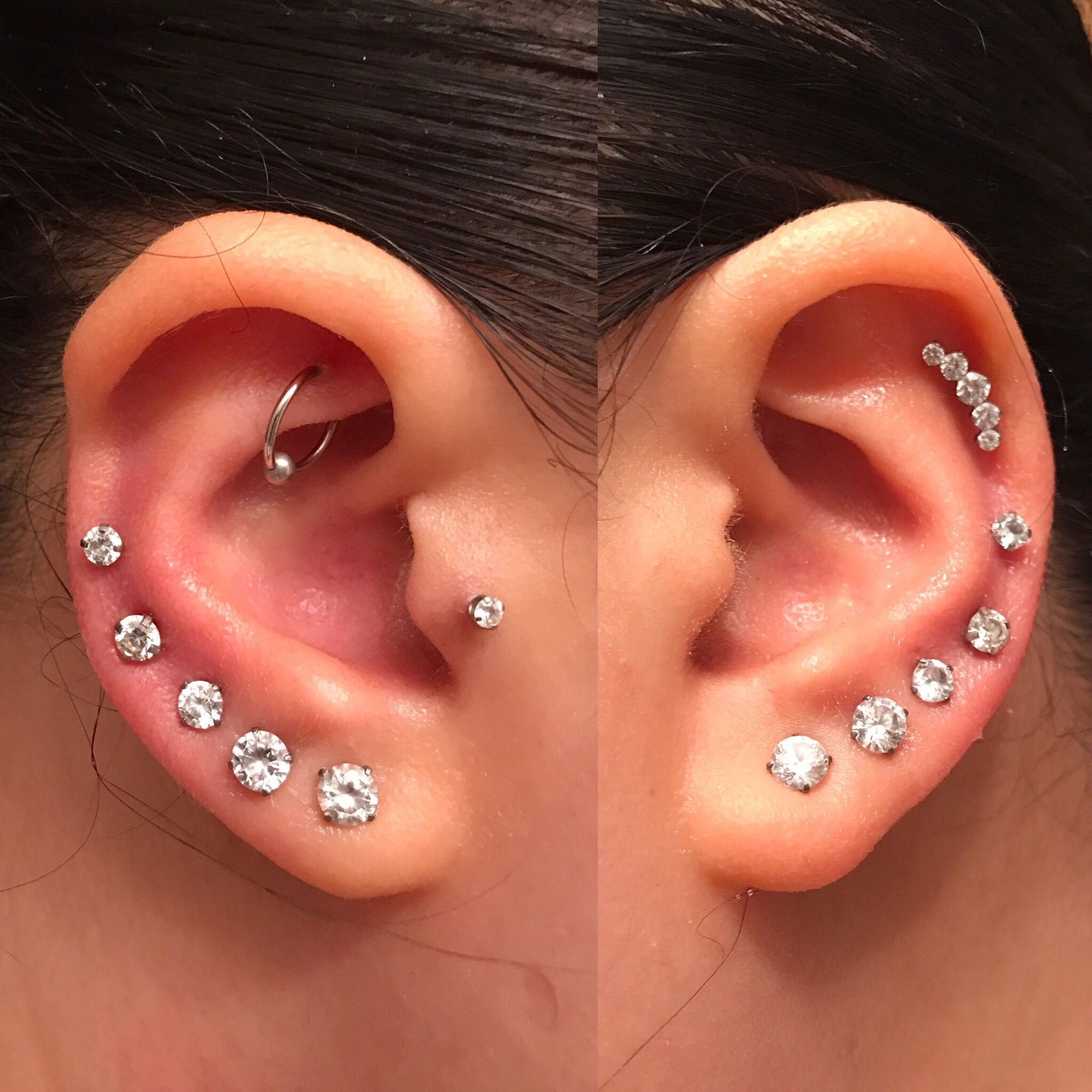 small resolution of i love my ear piercings rook tragus graduate lobe mid helix upper helix