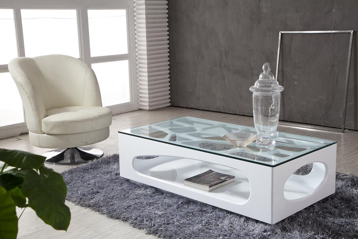 Simple White Glass Coffee Table Design Contemporary Living Room