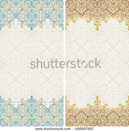 seamless border vector ornate in eastern style islam pattern vintage design place for text