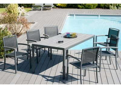 Ensemble de jardin en alu table et 6 fauteuils STARK ...