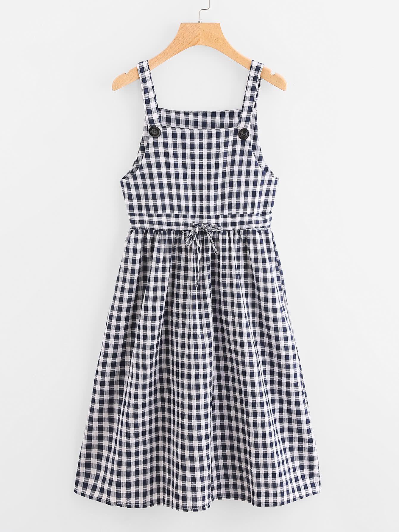 e61ab834c31 Fabric  Fabric has no stretch Season  Summer Type  Slip Pattern Type  Plaid  Sleeve Length  Sleeveless Color  Black