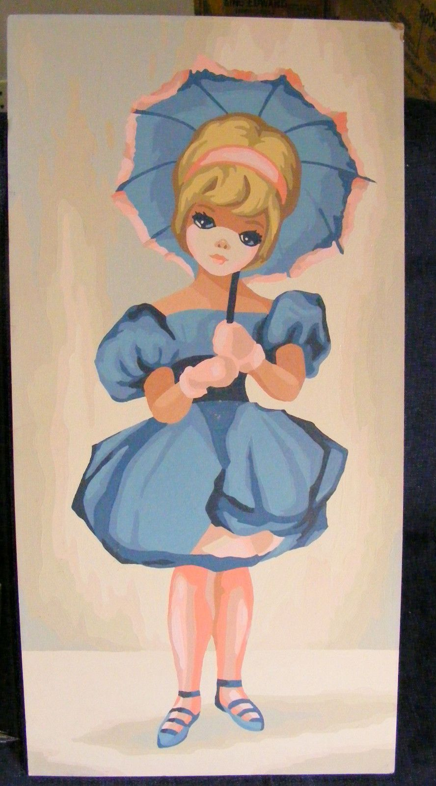 "Vtg. COLLECTIBLE ""Paint by Number"" girl with umbrella-ALREADY PAINTED,"
