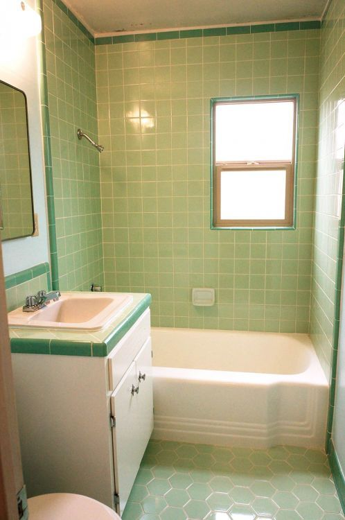 vintage mint green bathroom - Retro Green Bathroom Tile
