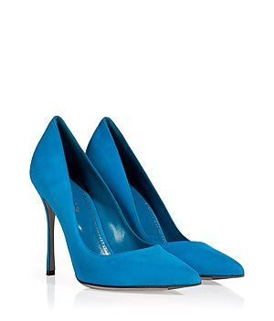 SERGIO ROSSI Royal Suede Pointy Toe Stilettos The classic get-noticed stiletto heel, this luxe iteration from Sergio Rossi boasts a bold blue hue and an ultra high heel / Pointed toe, rendered in supple blue suede / Super high stiletto heel / Pair with an elevated jeans-and-tee ensemble or a slinky cocktail sheath for evening #Stylebop