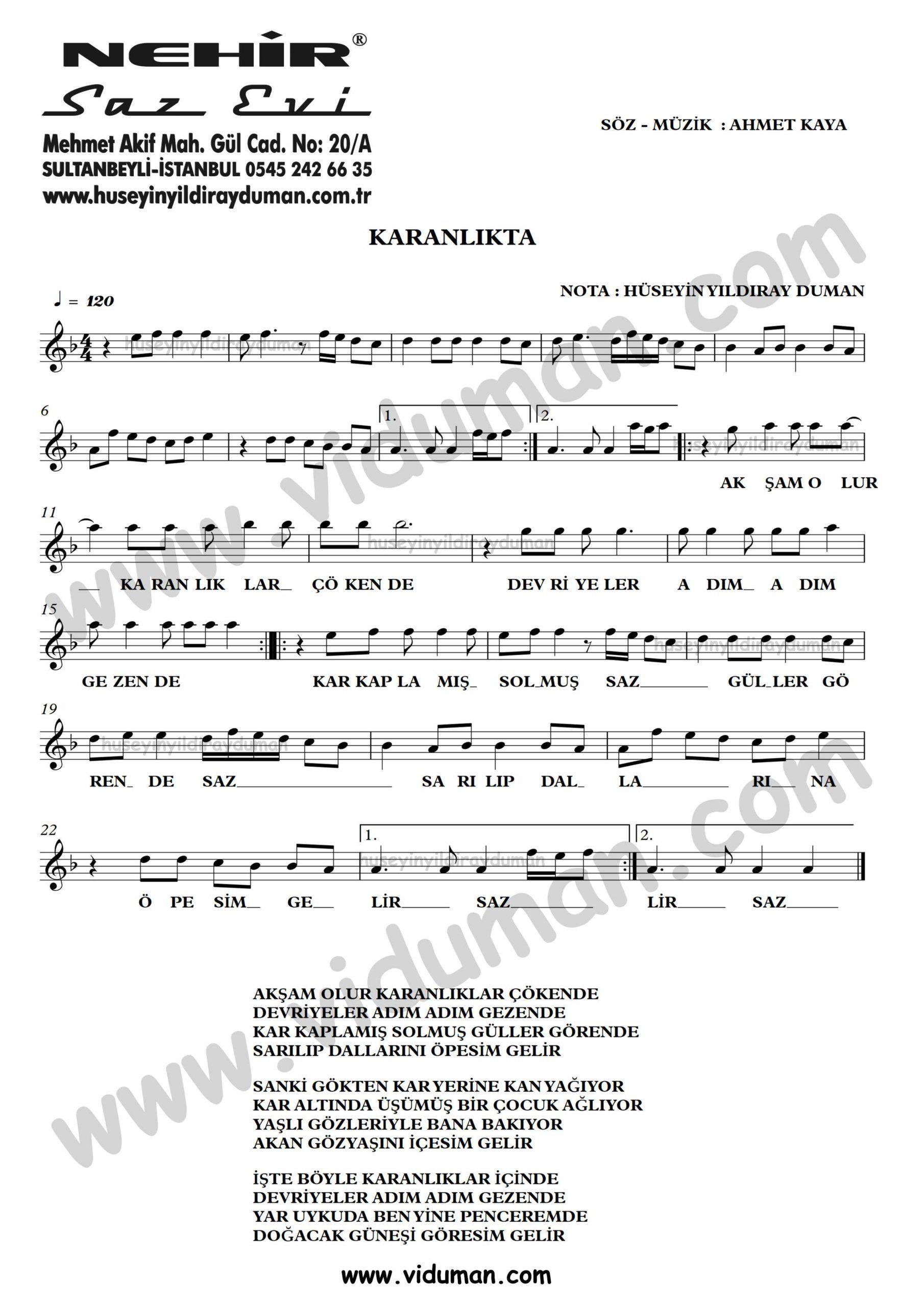Karanlikta Ahmet Kaya Nota Baglama Saz Turku Notalari Muzik Notalari Muzik Karanlik