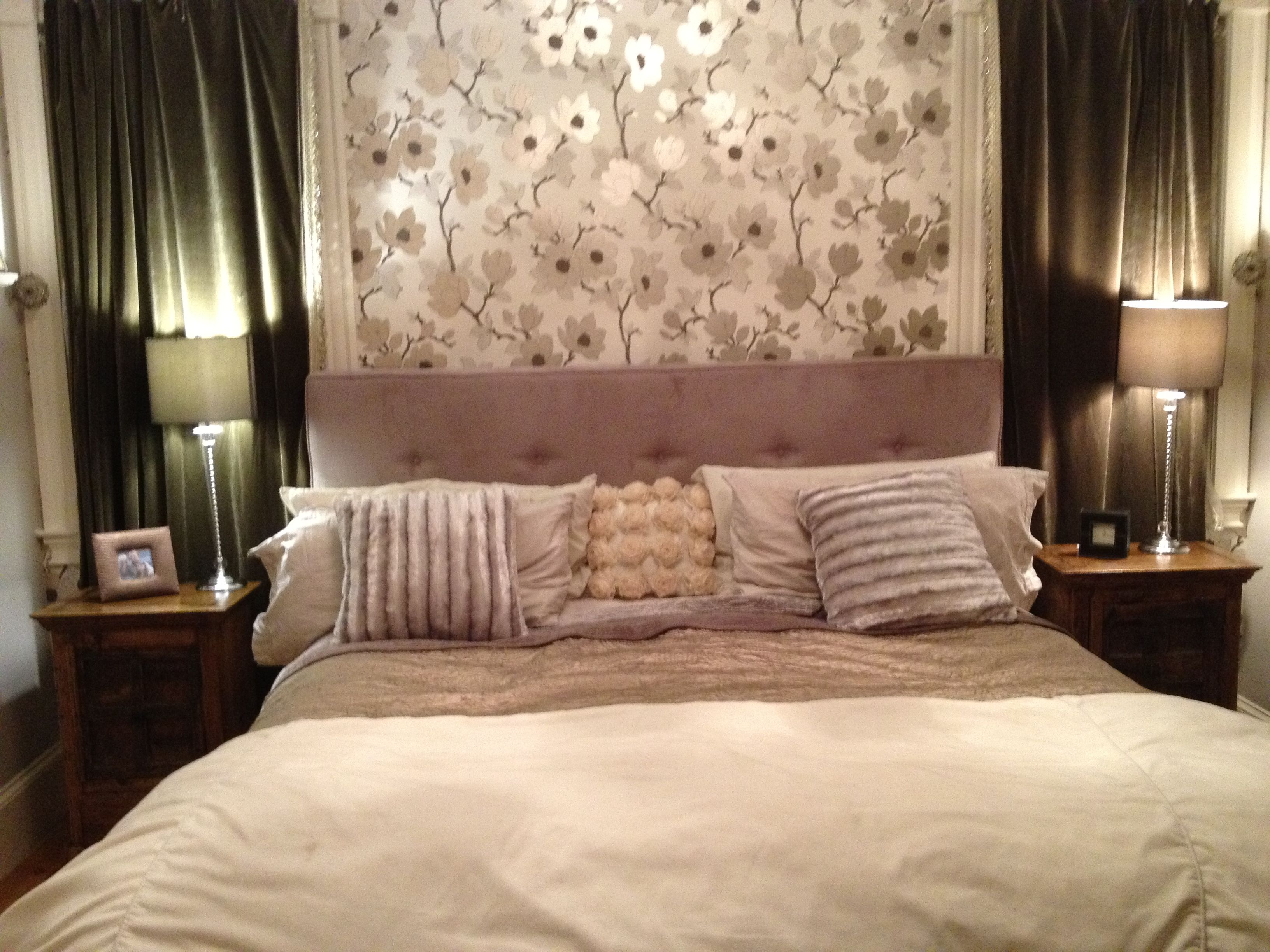 master bedroom make over with accent wall of wallpaper