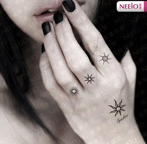 sun shine totem temporary tattoos finger wrist arm. Black Bedroom Furniture Sets. Home Design Ideas
