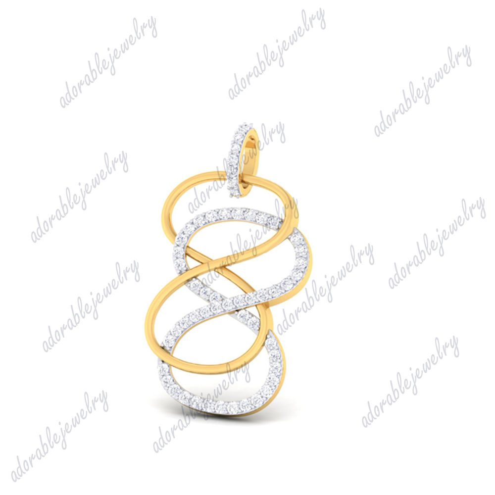 "Round D//VVS1 Infinity Pendant Necklace 18/"" 14k Yellow Gold Over 925 Sterling"