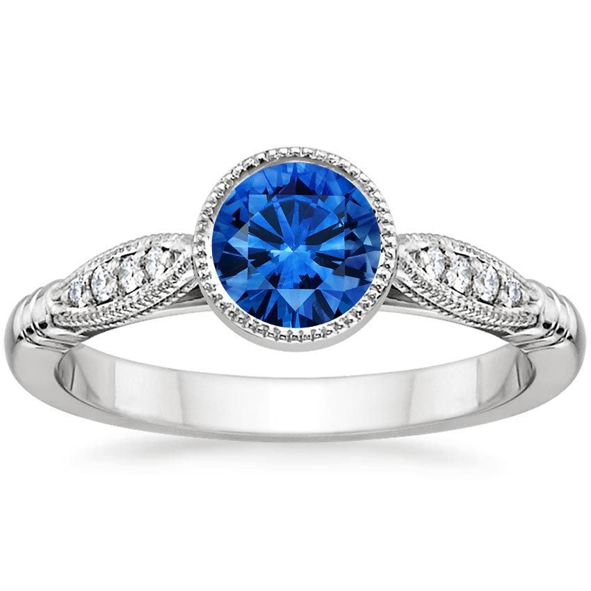 18K White Gold Sapphire Lyra Diamond Ring from Brilliant Earth