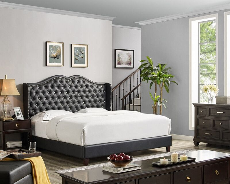 Oah D3026 Sterling Black Faux Leather Queen Tufted Bed Frame Set