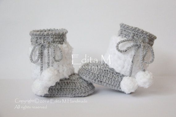 Crochet baby booties, baby shoes, boots, baby girl, boy, mix gray, grey, white, pom pom, READY TO SHIP, 0-3 months, winter, baby shower gift