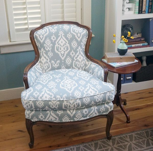 Superbe Reupholstered Antique Ikat Chair After