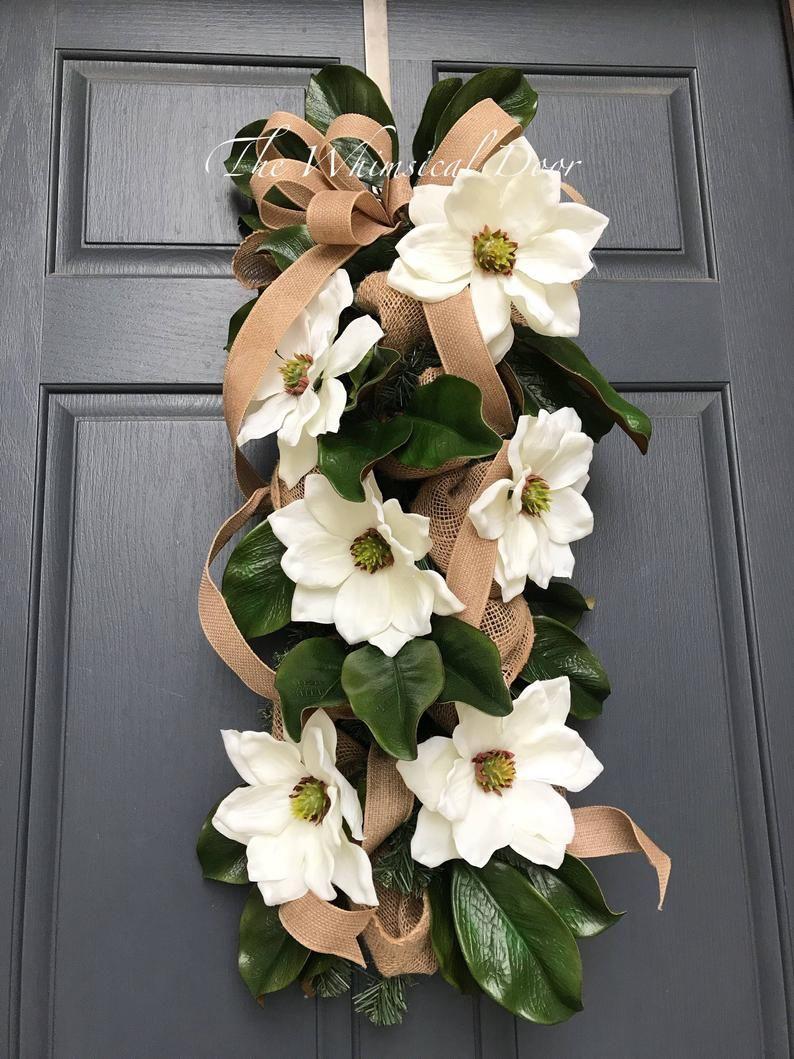 Photo of Magnolia wreath Magnolia prey wreath Southern wreath Farmhouse wreath
