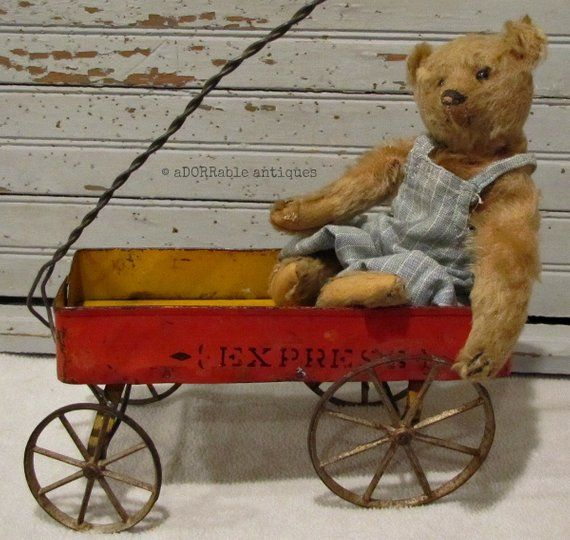 Antique Small Red Metal And Wood Express Toy Wagon With