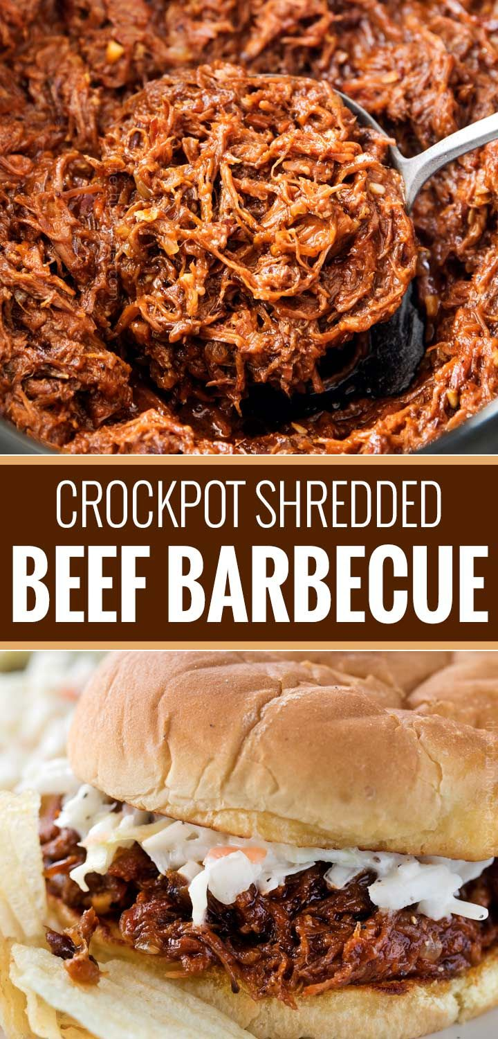 Crockpot Shredded Beef Barbecue Perfect for a summer cookout or potluck, this shredded beef barbecue recipe is made easily in the crockpot! With a quick and easy homemade barbecue sauce that's sweet and tangy, this beef bbq is truly the best! |
