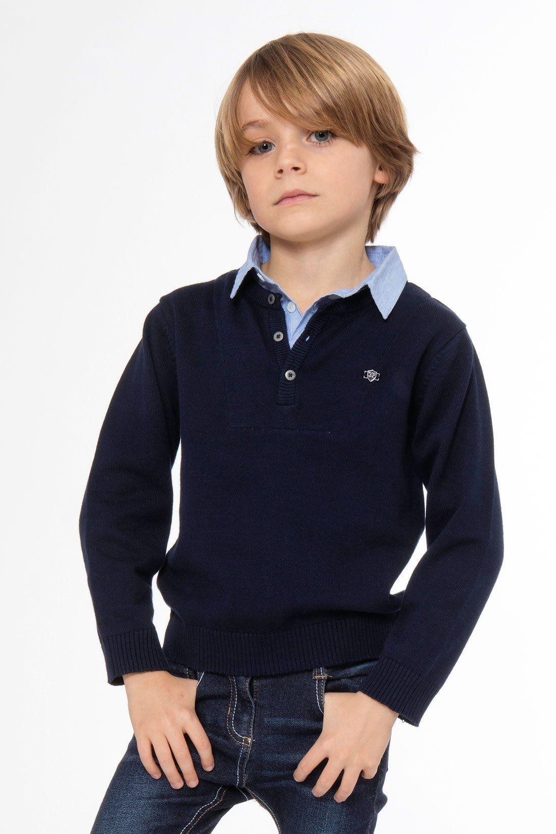 3pommes Navy Polo Boys Sweater - 5/6 / Navy