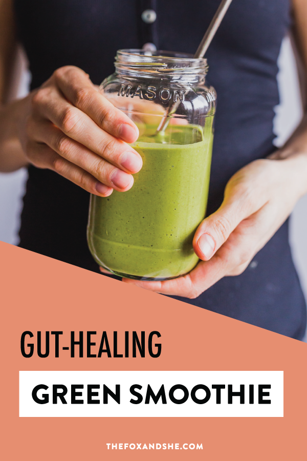 If you're working to restore gut health, make sure you're eating plenty of good foods for gut health. This peanut butter banana recipe is an easy breakfast idea that's healthy and quick. Clean eating is so delicious and easy with this gut healing smoothie recipe that's got prebiotics to feed your probiotic. Click through for this healthy smoothie recipe. #healthyliving #cleanliving #healthysmoothierecipe
