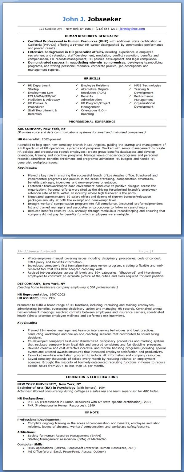 Human Resources Assistant Resume Sample Hr Generalist Resume Examples  Resumes  Pinterest  Resume .