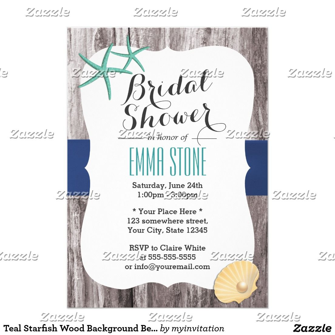 Beach Bridal Shower Teal Starfish Rustic Wood Card | Beach bridal ...